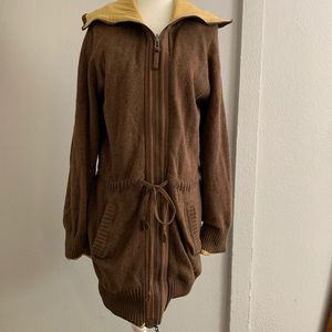 Anthropologie Sparrow Long Zip Up Sweater Size L